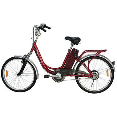 Yukon Trail Navigator SF24 Step-Thru Single Speed Eco-Friendly Electric Bike - Red