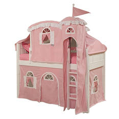 Emma Playhouse Tent Twin Loft Bed with Princess Tower, White