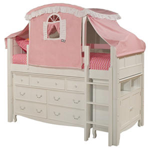 Emma Twin Loft Bed with Canopy, Dresser and Media Cabinet, White