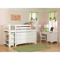 Windsor Twin Loft Bed with Dresser and Bookcase, White