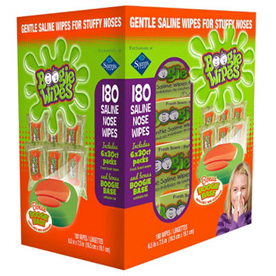 Boogie Wipes Saline Nose Wipes with Boogie Base (30 ct., 6 Refills)