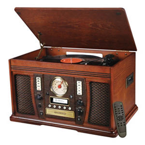 Recordable 7-in-1 Wooden Music Center with Bluetooth