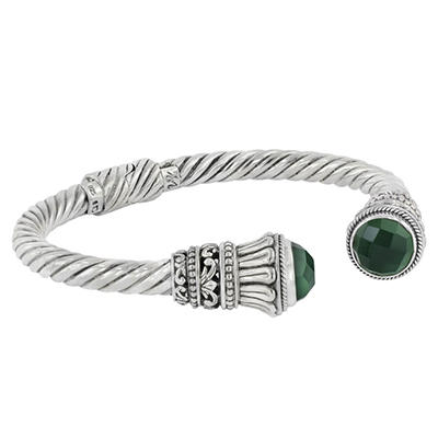Robert Manse Hinged Gemstone Cable Bracelet in Sterling Silver
