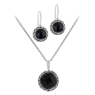 Robert Manse Black Onyx Necklace and Earring Set in Sterling Silver