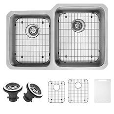 """VIGO 32"""" Undermount Stainless Steel Kitchen Sink, Two Grids and Two Strainers"""