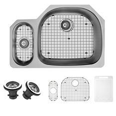 "VIGO 32"" Undermount Stainless Steel Kitchen Sink, Grid and Two Strainers"