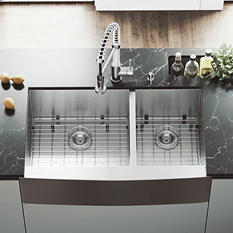 """VIGO 36"""" Farmhouse Stainless Steel Kitchen Sink, 2 Grids and 2 Strainers (Save Now)"""