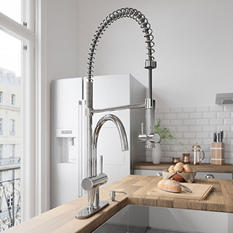 VIGO Chrome Pull-Down Spray Kitchen Faucet with Deck Plate