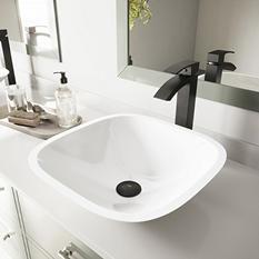 VIGO Square Shaped White Phoenix Stone Vessel Bathroom Sink