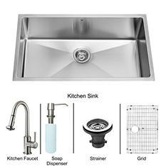 "VIGO All in One 32"" VIGO Undermount Stainless Steel Kitchen Sink and Faucet Set (Save Now)"