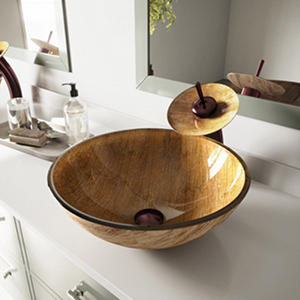 VIGO Amber Sunset Glass Vessel Sink and Waterfall Faucet Set in Oil-Rubbed Bronze