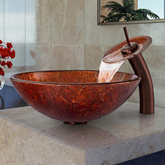 VIGO Mahogany Moon Glass Vessel Sink and Waterfall Faucet Set in Oil-Rubbed Bronze