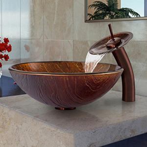 VIGO Kenyan Twilight Glass Vessel Sink and Waterfall Faucet Set in Oil-Rubbed Bronze