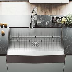 """VIGO 36"""" Farmhouse Stainless Steel Kitchen Sink, Grid and Strainer"""