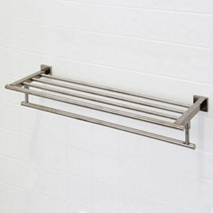 "VIGO Allure 24"" Square Design Hotel Style Rack and Towel Bar in Brushed Nickel"