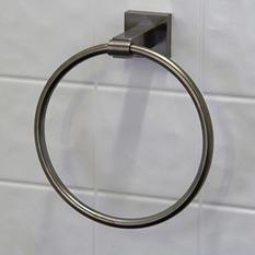 VIGO Allure Square Design Hand Towel Ring in Brushed Nickel
