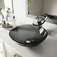 VIGO Sheer Black Glass Vessel Sink and Waterfall Faucet Set in Brushed Nickel