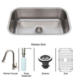 VIGO All in One 30in VIGO Undermount Stainless Steel Kitchen Sink and Faucet Set