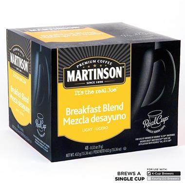 Martinson Breakfast Blend Coffee RealCups, Single Serve (48 ct.)