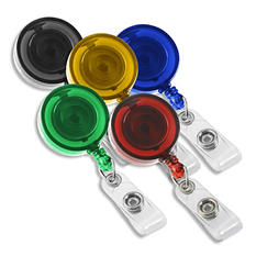 IDVille Retractable Badge Reels - Translucent Color Variety, 25 Pack