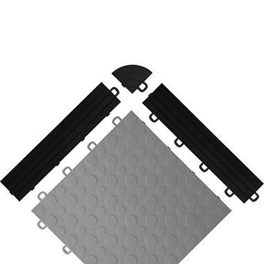 BlockTile - Interlocking Garage Floor Edges without Loops - Black - 12 Edges and 2 Corners