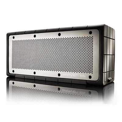 Braven 855s Portable Wireless Speaker. Black Silicone wrap with Gray grill. 8800mA battery.