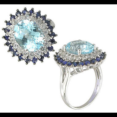 IRR BLUE TOPAZ RING LAB BL WH SAPP-14KW