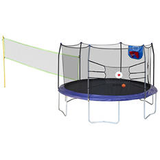 Skywalker Trampolines 15' Round Sports Arena Trampoline and Enclosure - Blue