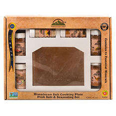 "HIMALAYAN CHEF Himalayan Pink Salt Cooking Plate 8x8x2"" with 6 pcs of different Pink Salt Seasoning Gift Set"