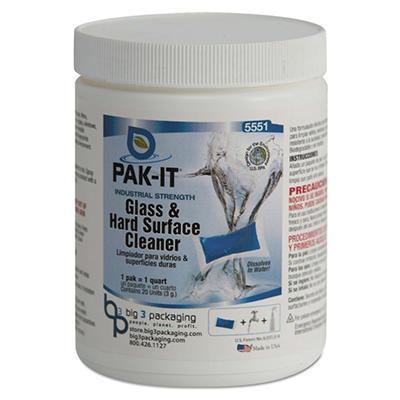PAK-IT Glass & Hard Surface Cleaner Jar, Pleasant Scent (20 ct.)