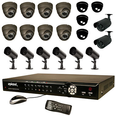 Piczel 7216  16 CH Complete System with H.264 DVR, 1TB Hard Drive, 16 IR CCD Cameras, E-Mail, Text, & 3G/4G Monitoring