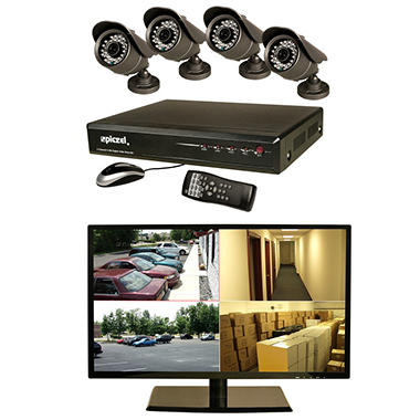 Piczel 7009 4-Channel Surveillance System - 1TB Hard Drive, 18.5? LED Monitor, 4 High-Res 600TVL Cameras