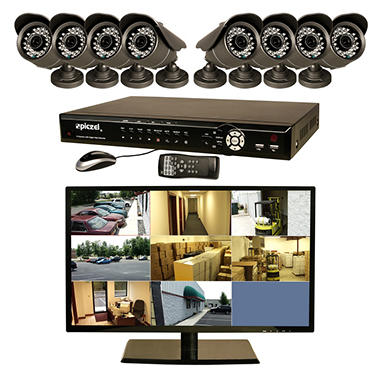 "Piczel 7011 8 CH Surveillance System with 1TB Hard Drive, 18.5"" LED Monitor, 8 600TVL Cameras, E-Mail, & 3G Monitoring"
