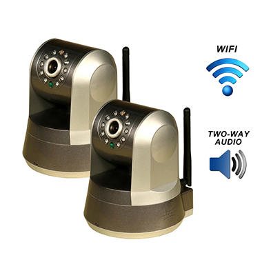 Two Piczel Wi-Fi Wireless Internet Motorized Pan/Tilt Cameras with Smartphone Control and Image E-mail - Model 165-2PK
