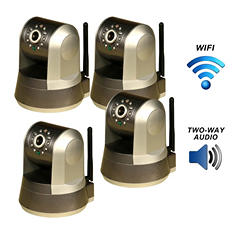 Four Piczel Wi-Fi Wireless Internet Motorized Pan/Tilt Cameras with Smartphone Control and Image E-mail - Model 165-4PK