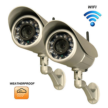 Two Piczel Wi-Fi Wireless Internet Weatherproof Cameras with Smartphone Control and Image E-mail - Model 164
