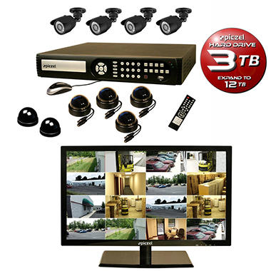 """Piczel 16 Channel Security System with 8 540 TVL Cameras, 3TB Hard Drive, and 22"""" LED Monitor"""