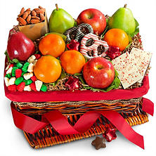 Holiday Deluxe Fruit, Nut and Treats Gift Basket