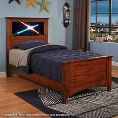 LightHeaded Beds Canterbury Twin Bed with back-lit LED Headboard Imagery- Chestnut