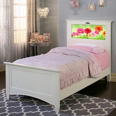 LightHeaded Beds Canterbury Twin Bed with back-lit LED Headboard Imagery- White