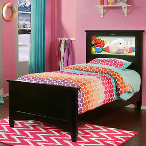 LightHeaded Beds Canterbury Twin Bed with Changeable back-lit LED Headboard Imagery (Various Colors)
