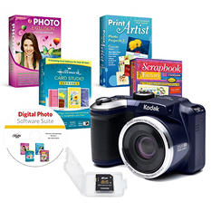 KODAK PIXPRO AZ251 16MP DSC Bundle with 25x Optical Zoom, 8GB SD Card, and Avanquest Digital Photo Software Suite - Various Colors