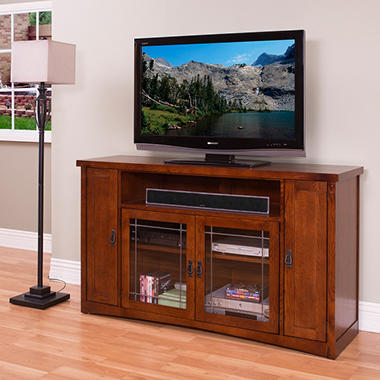 "Mission Park 36"" Tall TV Console - Oak."