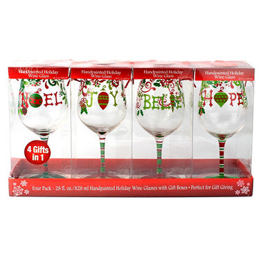 Wine Glasses - Words or Designs - 4 pk.