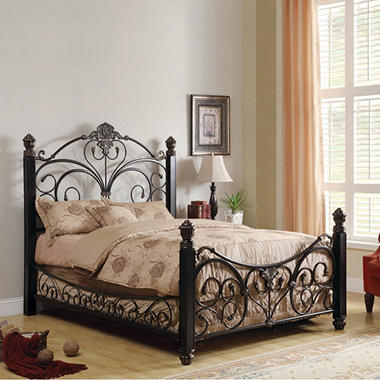 Alysa Metal Queen Bed with Decorative Side Rails