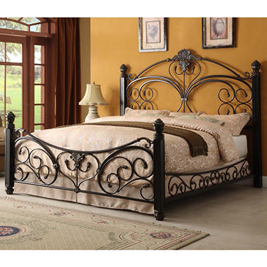Alysa Metal King Bed with Decorative Side Rails.
