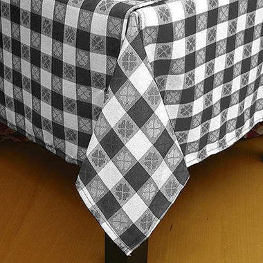 Black & White Floral Check Tablecloth - 6 pk.
