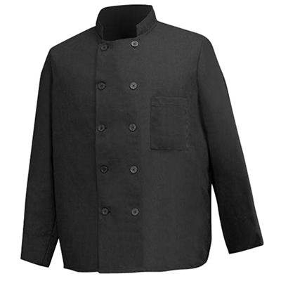 Professional 10-Button Chef's Coat - Black