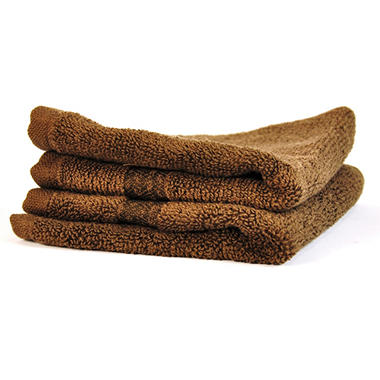 "100% Cotton Super Soft Highly Absorbent Luxurious Wash Cloth - 13"" x 13"" - Chocolate - 2 pk."