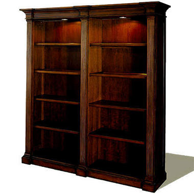 Sherwood Wooden Double Bookcase - Mahogany